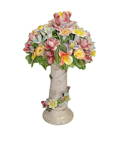 Italian Capodimonte Hand-Made Ceramic Flower Basket On Column