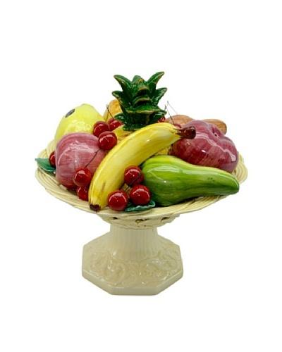 Italian Capodimonte Ceramic Hand-Made Fruit Basket On Base