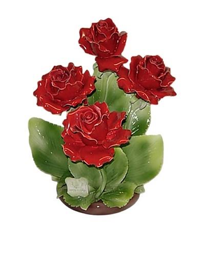 Italian Capodimonte Hand-Made Ceramic Four Red Rose Basket