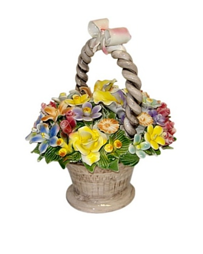 Italian Capodimonte Hand-Made Ceramic Flower Basket With Handle And Bow