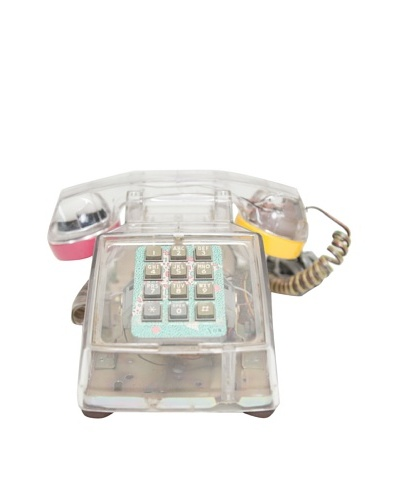 ITT Vintage Telephone, Clear/Gold/Blue