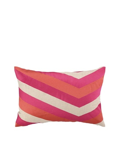 Iza Pearl Calypso Stripe Embellished Down Pillow, Pink, 14 x 20