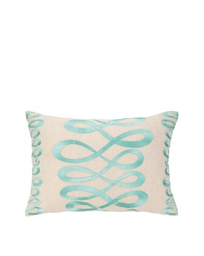 "Iza Pearl Swirl Swing Embellished Down Pillow, Blue, 14"" x 20"""