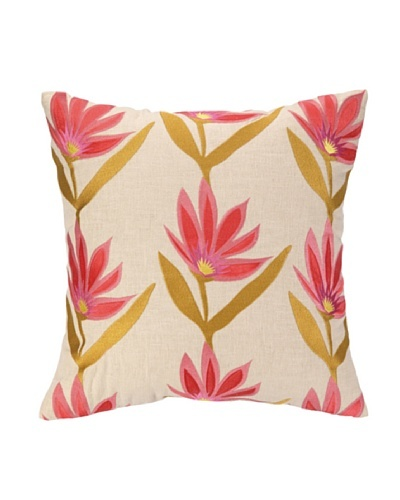 Iza Pearl Garden Party Tango Embellished Down Pillow, Pink/Gold, 18 x 18