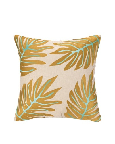Iza Pearl Palm Dance Embellished Down Pillow, Gold/Blue, 18 x 18As You See