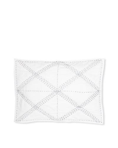 Jaipur Bedding Cross Bar Kantha Sham [White/Navy]