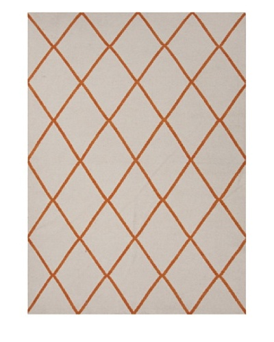 Jaipur Rugs Hand-Made Geometric-Pattern Wool Flat-Weave Rug [Red/Orange]
