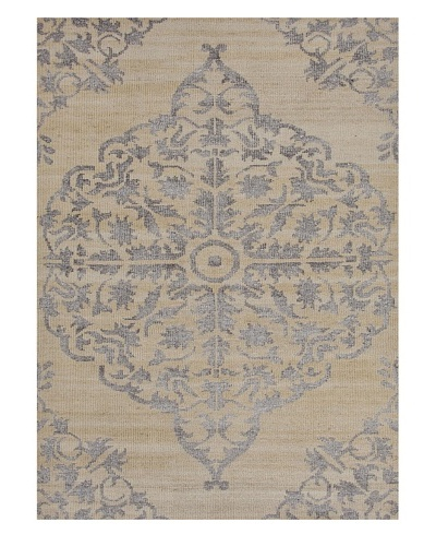 Hand-Knotted Two-Tone Rug