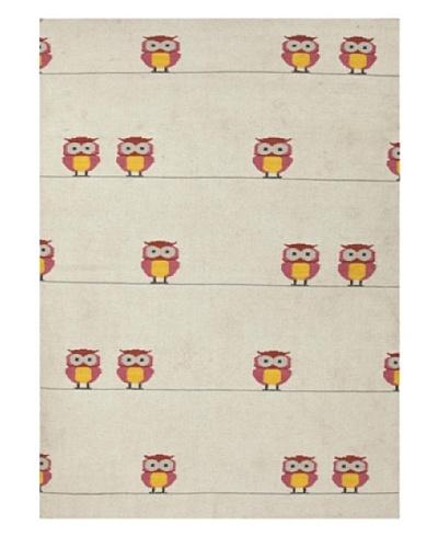Jaipur Rugs, Inc. Flat Weave Animal Print Pattern Pink/Purple Wool Handmade ( 5x8 ) [Pink/Purple/Ivo...