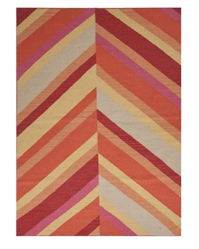 Jaipur Rugs, Inc. Flat Weave Stripe Pattern Red/Orange Wool Handmade ( 3.6x5.6 ) [Red/Orange]