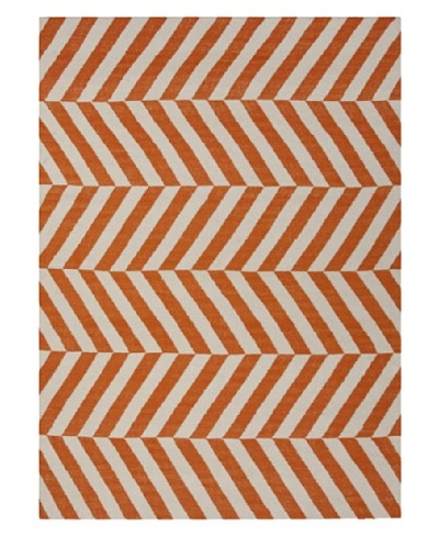 Jaipur Rugs, Inc. Hand-Made Stripe-Pattern Wool Flat-Weave Rug [Red/Orange]