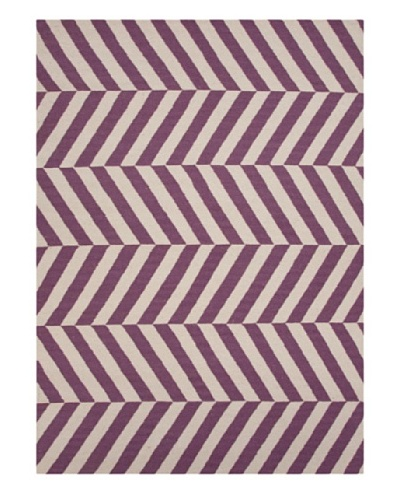 Jaipur Rugs, Inc. Hand-Made Stripe-Pattern Wool Flat-Weave Rug [Pink/Purple]