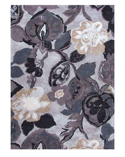 Jaipur Rugs Inc Hand-Tufted Floral Pattern Wool/ Art Silk Gray/Tan Area Rug ( 2X3 )