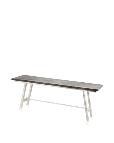 Jamie Young Cottage Folding Bench, Chocolate/Nickel