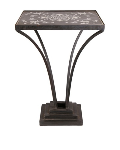 Jamie Young Floral Labelle Iron & Marble Table, Black/Aged Iron