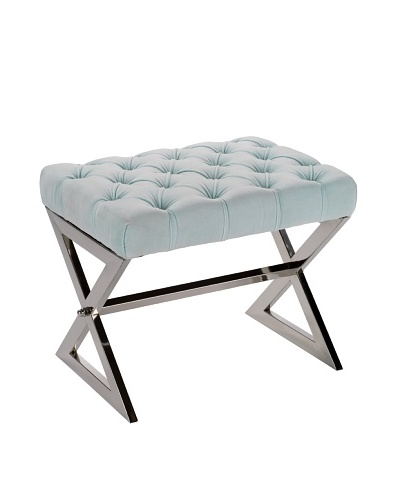 Jamie Young Tufted Stool, Nickel/Sky Blue