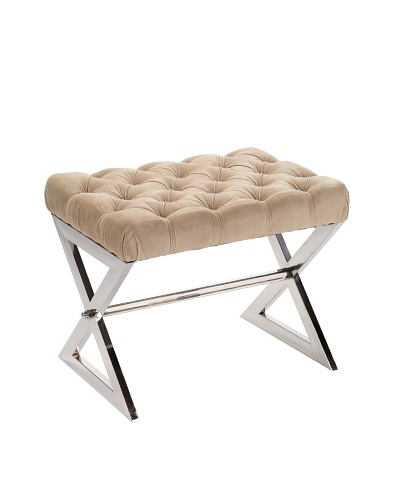 Jamie Young Tufted Stool, Nickel/Taupe