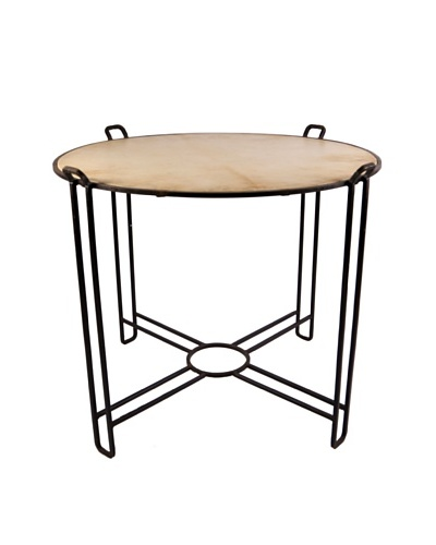 Jamie Young Round Steel Vellum Bistro Table, Natural/Black