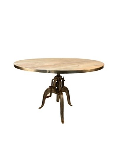 Jamie Young Americana Wood Crank Dining Table, Natural/Aged Iron