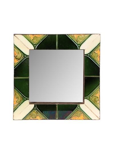 Jamie Young Tile Mirror, Black/Green Multi, 12 x 12