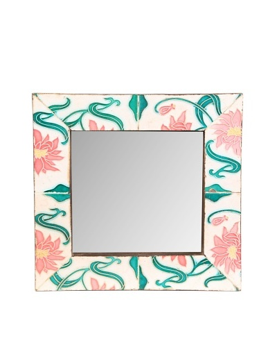 Jamie Young Tile Mirror, Ivory/Green Multi, 12 x 12