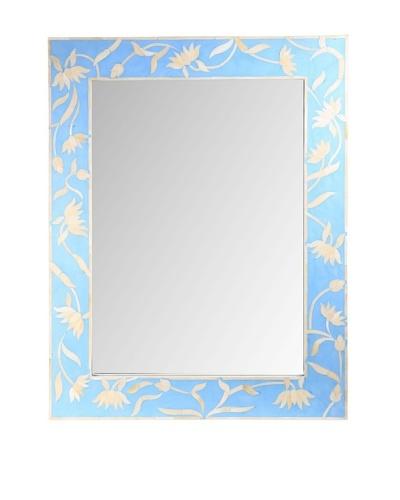 Jamie Young Bone Inlay Mirror, Blue/Ivory