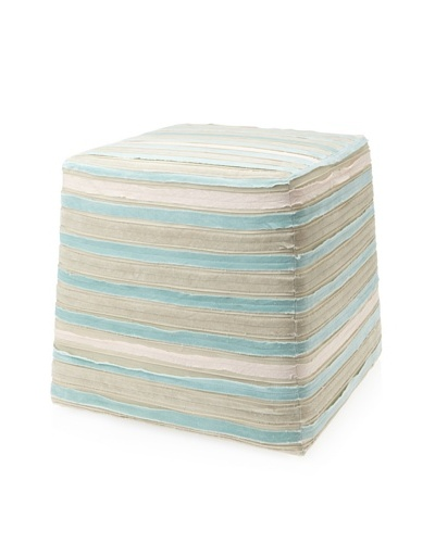 Jamie Young Sherbet Velvet Striped Ottoman, Beige/Pale Blue/Taupe