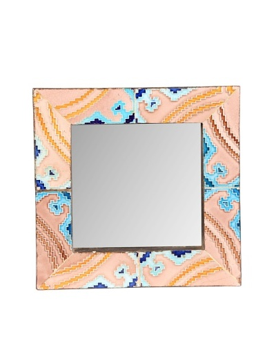 Jamie Young Tile Mirror, Pink/Blue Multi, 12 x 12