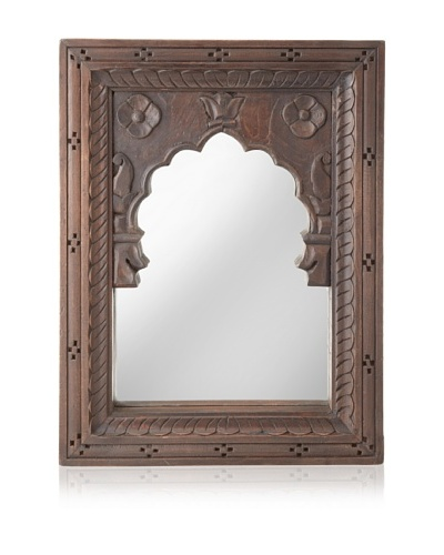 Jamie Young Mewar Carved Rectangle Mirror, Dark Brown, Small