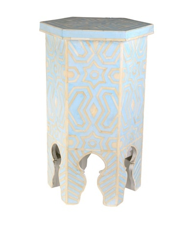 Jamie Young Bone Inlay Hexagon Stool, Blue/Ivory