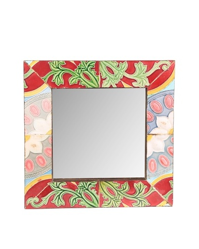 Jamie Young Tile Mirror, Red/Green Multi, 12 x 12