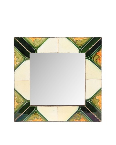 Jamie Young Tile Mirror, Ivory/Orange/Green Multi, 12 x 12