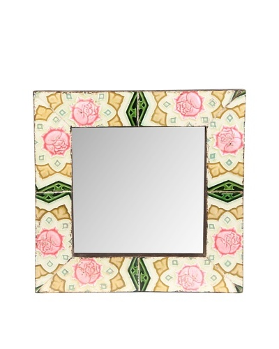 Jamie Young Tile Mirror, Ivory/Pink Multi, 12 x 12