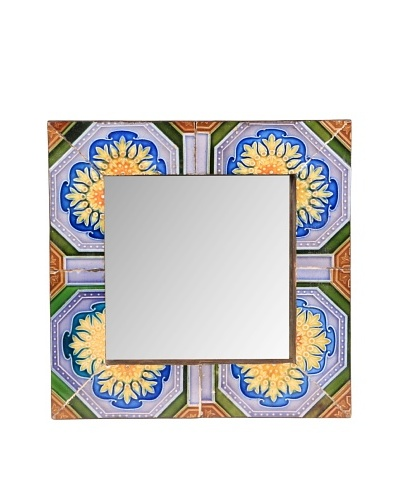 Jamie Young Tile Mirror, Blue/Brown Multi, 12 x 12