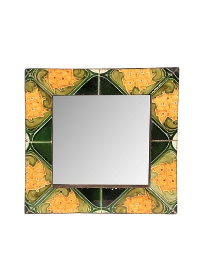 Jamie Young Tile Mirror, Orange/Black Multi, 12 x 12