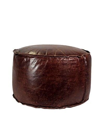 Jamie Young Round Leather Pouf, Brown