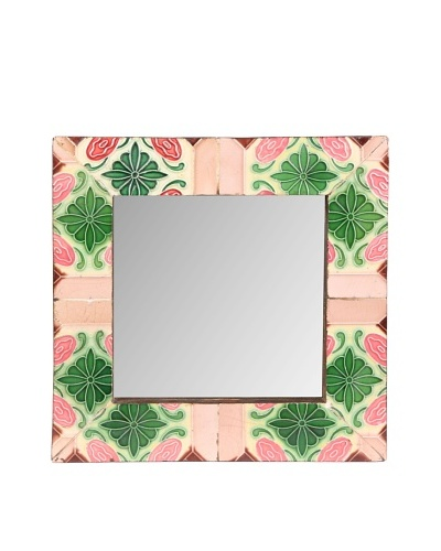 """Jamie Young Tile Mirror, Pink/Green Multi, 12"""" x 12"""""""