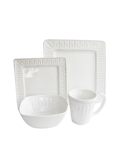Jay Imports Kenzie Square 16-Piece Dinnerware Set, White