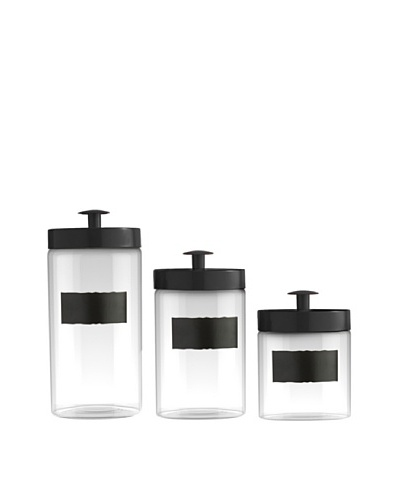 Jay Imports Set of 3 Glass Canisters with Chalkboard Labels