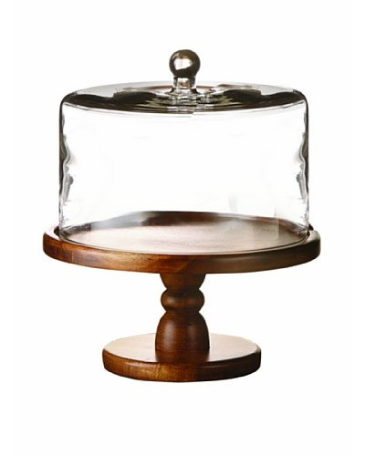 Jay Imports Madera Pedestal Plate with Glass Dome