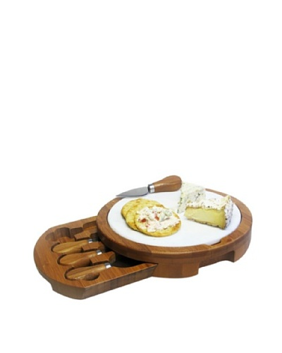 Jay Imports Marble & Bamboo Cheeseboard with Knives