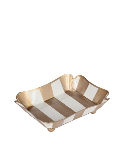 Jayes Brushed Stripe Cream & Gold Trinket Tray