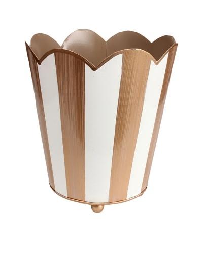 Jayes Brushed Stripe Cream & Gold Decorative Cachepot