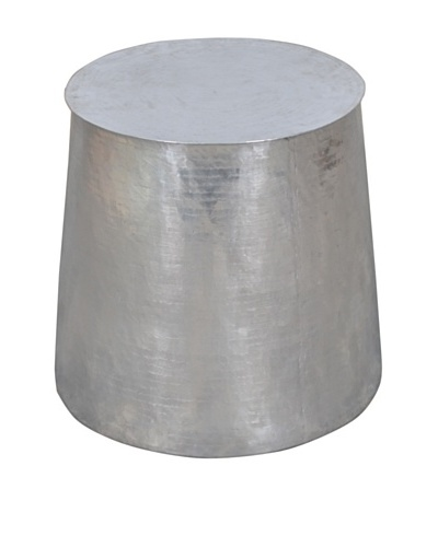 Jeffan Tempered Metal Cylinder Side Table, Silver