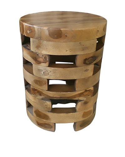 Jeffan Open-Slat Wooden End Table