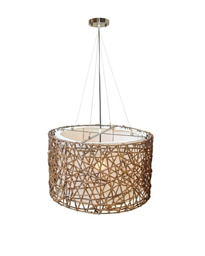 Jeffan International Kobe Drum Hanging Lamp, Brown, Medium