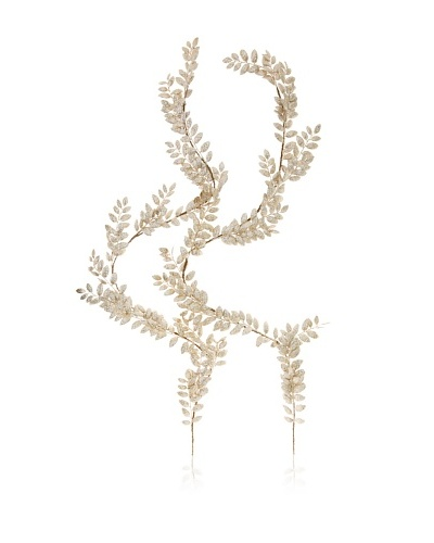 Jim Marvin 5' Glittered Leaf Garland, Platinum, 5'