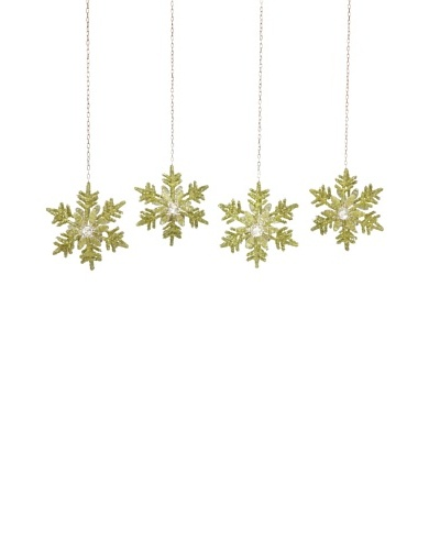 Jim Marvin Set of 4 Bugle Bead Snowflake Hanging Tealight Holders, Green
