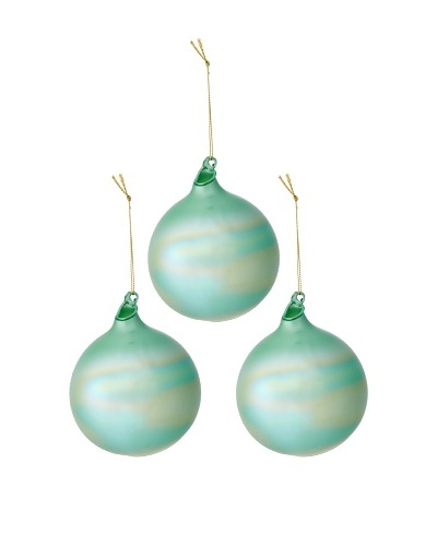 Jim Marvin Set of 3 Pearl Glass Ball Ornaments, Sage Green