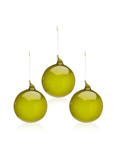 Jim Marvin Set of 3 Glass Ball Bubblegum Ornaments, Moss, 4